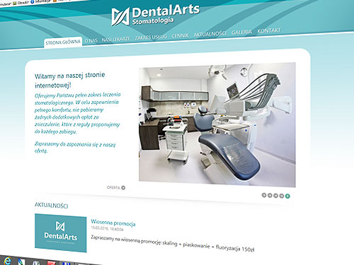 Dental Arts – strona www i pełne corporate id