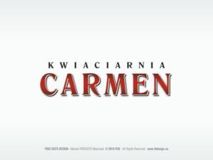 Rozpoznawalna forma graficzna nazwy dla Kwiaciarni CARMEN