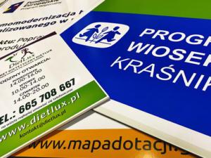 Tablice i tabliczki reklamowe  w różnych wymiarach i na różnych podłożach.