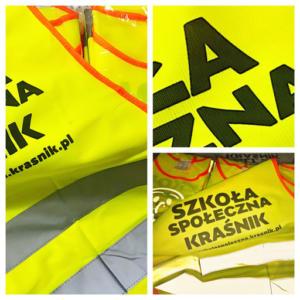 Personalizowane kamizelki odblaskowe dla Szkoły Społecznej w Kraśniku.