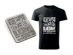 Kraśnik Blues Meeting 2018 - Przystanek Dzierzkowice. Zlot motocyklowy  - wzór identyfikacji wizualnej zlotu, znaki graficzne, banery, flagi, koszulki i blachy okolicznościowe.